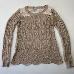 American Rag Cie Sweater with Lace Panel Rose S
